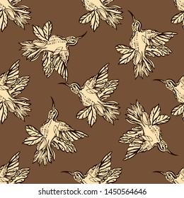 Vector seamless flying little birds of paradise conversation pattern. Romantic humming-bird, colibri background allover print design - Vector