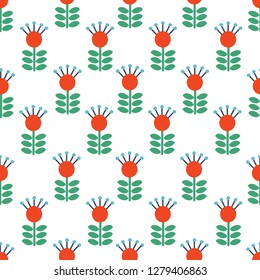 Vector Seamless folk art pattern background with flowers, Scandinavian or Nordic Red repetitive floral design. Retro style floral ornament, Scandi endless background perfect for textile design