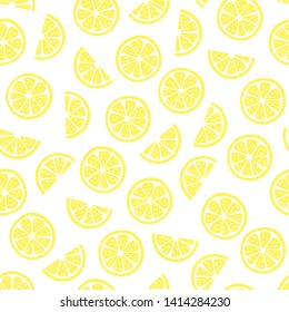 vector seamless fruit pattern with lemon slices. Fruit summer texture