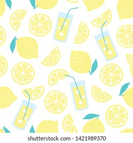 vector seamless fruit pattern with lemon slices, lemonade, lemons. Fruit citrus summer texture