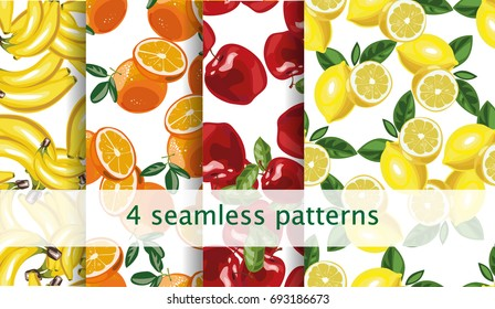 Vector seamless fruit pattern set. Vector 10 eps file.