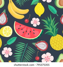 vector seamless fruit tropical pattern