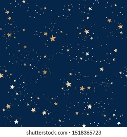 Vector seamless galaxy blue pattern with gold constellations and stars. Golden space background