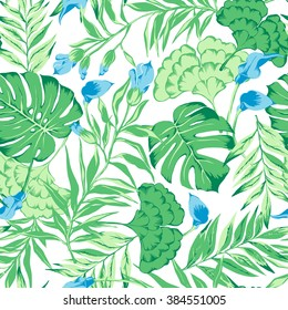 vector seamless gentle green with blue tropical pattern with exotic flower, philodendron, split leaf, rain forest wild nature, summer mood tropic background print