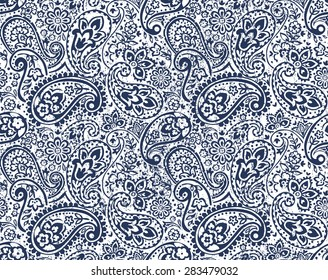 vector seamless gentle paisley print with flowers and dots and grunge texture