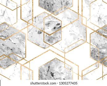 Vector seamless geometric art deco pattern with gold glitter lines and marble polygons. Metallic hexagon abstract texture on white background