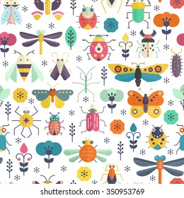 Vector seamless geometric pattern with bugs and insects on blue background with texture. Colorful seamless design.