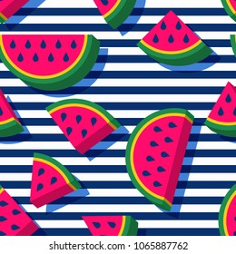 Vector seamless geometric pattern. Flat 3d style watermelon slices and navy striped background. Trendy design concept for summer fashion textile print.