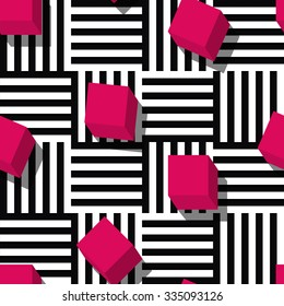 Vector seamless geometric pattern. Flat style pink cube and black, white striped square background. Trendy design concept for fashion textile print.