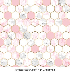 Vector seamless geometric pattern with gold foil lines, pink and gray marble polygons. Modern hexagon tile abstract texture on white background