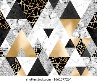 Vector seamless geometric pattern with gold metallic lines, silver glitter, black watercolor and gray marble triangles. Modern polygons abstract texture on white background