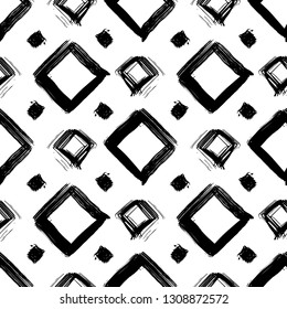 Vector Seamless Geometric Pattern. Grunge dry brush style.