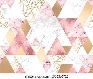 Vector seamless geometric pattern with metallic lines, rose gold, gray and pink marble triangles. Modern polygons abstract texture on white background