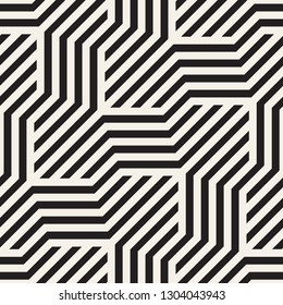 Vector seamless geometric pattern. Modern stylish interlaced lines abstract texture. Polygonal linear grid from striped slanted elements.