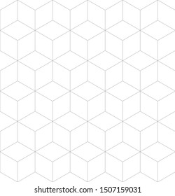 Vector seamless geometric pattern. Modern thin hexagon grid texture. EPS 10