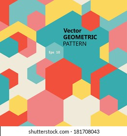 Vector seamless geometric pattern of multicolored hexagons