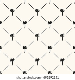 Vector seamless geometric pattern with silhouettes of palms and lines. Can be used for wallpaper, pattern fills, web page background,surface textures