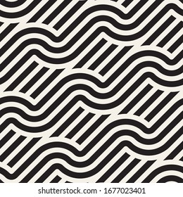 Vector seamless geometric pattern. Stylish abstract decorative background. Repeating interweaving lines design.