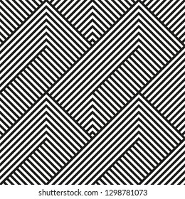 Vector seamless geometric pattern.Black and white striped background.Endless modern texture.