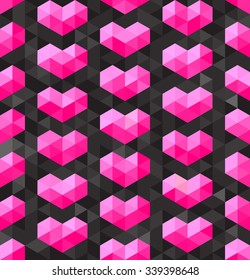 Vector Seamless Geometric Pink Hearts Shapes on Dark Triangle  Polygons Background Abstract Background