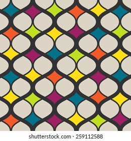Vector seamless geometric retro pattern. Colorful Abstract background made with curved lines.