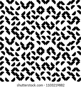 Vector Seamless Geometry Truchet Pattern. Black and white simple seamless pattern. Circles and round shapes seamless labyrinth.