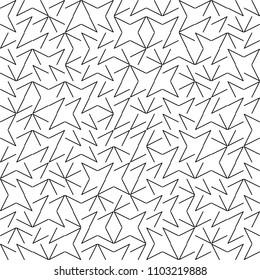 Vector Seamless Geometry Truchet Pattern. Black and white simple seamless pattern. Random angle shapes seamless pattern.
