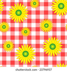 Vector seamless gingham background with summer flowers.