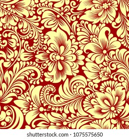 Vector seamless gold pattern with abstract stylized flowers in folk style, hohloma, petrikovka. Ethnic floral ornamental design for textiles, wallpaper, packaging