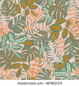vector seamless graphical artistic colorful tropical leaves pattern, split leaf, philodendron, palm leafs, modern jungle nature background allover print