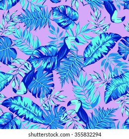 vector seamless graphical artistic hand drawn topical pattern, tropics, philodendron, palm leaf, banana leaf, fern frond, decorative, colorful, summer time, nature, original, fashionable, toucan