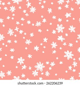 vector seamless graphical minimalistic hand drawn ditsy flower print