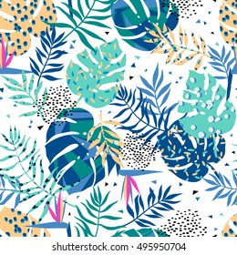 vector seamless graphical tropical leaves bright pattern with vibrant texture in pop art style, modern summer background allover print. split leaf, philodendron, monstera leaves