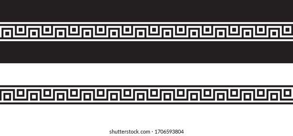 Vector seamless Greek ornament meander, black and white
