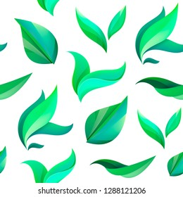 Vector seamless green leaves, tea pattern, background