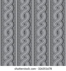 Vector seamless grey Christmas sweater cable knitted pattern in ethnic style