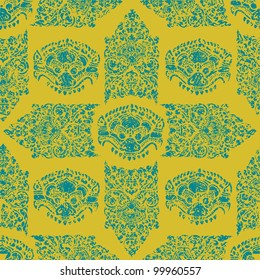 Vector seamless grunge Cambodian floral pattern