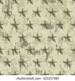 vector seamless grunge military pattern with stars. EPS