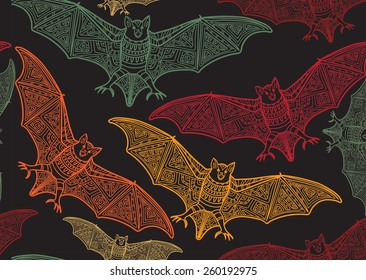 Vector seamless halloween pattern with bat .Modern stylish texture. Repeating abstract background