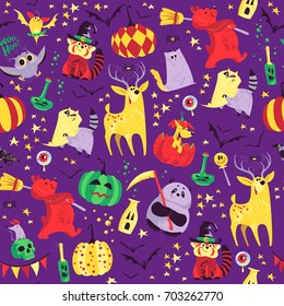 Vector seamless Halloween pattern with magic traditional elements isolated on purple background - witch hat, pumpkin, bat, stars, spooky etc. Good for advertising, media, cards design, packaging paper