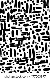 Vector seamless hand drawn abstract pattern. Black and white background