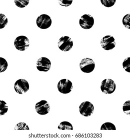 Vector seamless hand drawn abstract pattern. Brush painted polka dots. Simple background / Vector illustration