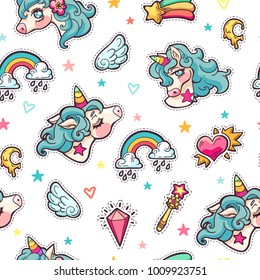 Vector seamless hand drawn pattern with cute adorable unicorns, clouds, rainbow and stars in cartoon style. Magic background with little unicorns.
