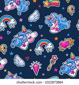 Vector seamless hand drawn pattern with cute adorable unicorns, clouds, rainbow and stars in cartoon style on dark. Magic childish background with little unicorns.