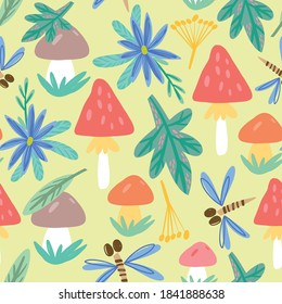 Vector Seamless Hand drawn Pattern with Mushrooms and Leaves.