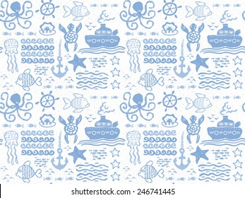 Vector seamless hand drawn pattern of marine animals, fishes, ship and waves.