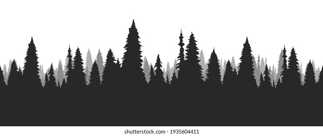 Vector  Seamless hand drawn pine forest. Christmas banner template.