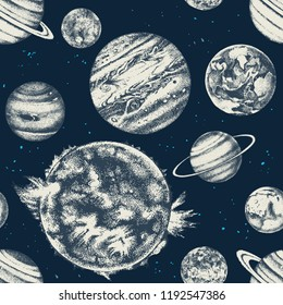 Vector seamless with hand drawn solar system planets. Vector illustration in retro style