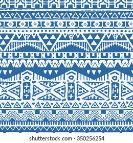 Vector Seamless Hand Drawn Tribal Pattern for Textile Design. Monochrome Ethnic Print with Rhombuses, Triangles and Stripes