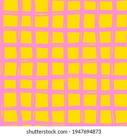 Vector seamless hand-drawn pattern. Abstract texture with ink brush strokes. Repeating pink lines grid on yellow background design.